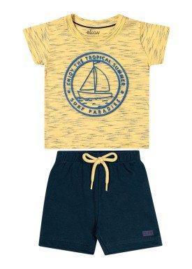 conjunto camiseta e bermuda bebe masculino summer amarelo elian 20910