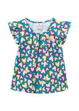 blusa meia malha infantil feminina coracoes azul brandili 24748