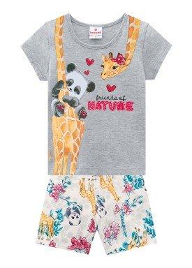 conjunto blusa e short infantil feminino nature mescla brandili 24769
