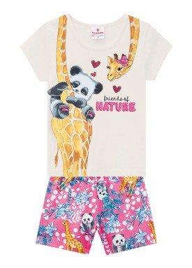 conjunto blusa e short infantil feminino nature natural brandili 24769