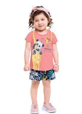 conjunto blusa e short infantil feminino nature pessego brandili 24769 1