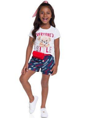 conjunto blusa e short infantil feminino style branco brandili 24806 1