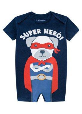 macaquinho meia malha bebe masculino super heroi marinho brandili 24705