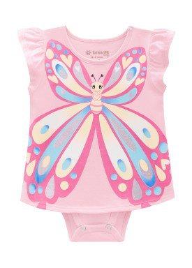 vestido body meia malha bebe feminino borboleta rosa brandili 24676