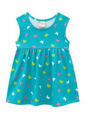 vestido meia malha bebe feminino borboletas azul brandili 24719