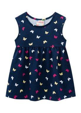 vestido meia malha bebe feminino borboletas marinho brandili 24719