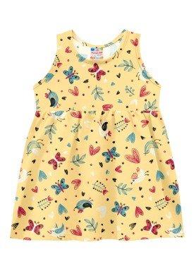 vestido meia malha bebe feminino natureza amarelo brandili 24718
