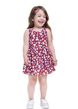 vestido meia malha infantil feminino coracoes vermelho brandili 24751 1