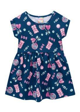 vestido meia malha infantil feminino doces marinho brandili 24721