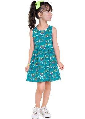 vestido meia malha infantil feminino estampado azul brandili 24722 1