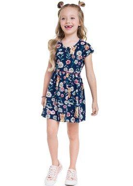 vestido meia malha infantil feminino flores marinho brandili 24788 1
