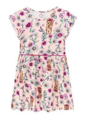 vestido meia malha infantil feminino flores rosa brandili 24788
