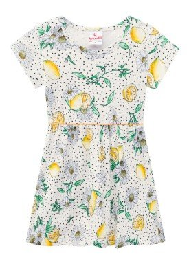 vestido meia malha infantil feminino lemons natural brandili 24753