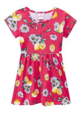 vestido meia malha infantil feminino lemons rosa brandili 24753