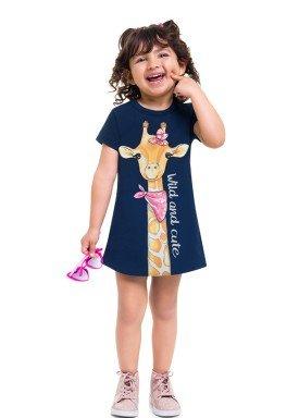 vestido moletinho infantil feminino girafa marinho brandili 24758 1