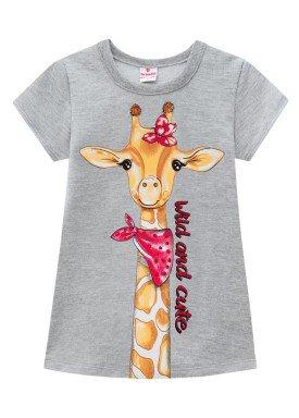 vestido moletinho infantil feminino girafa mescla brandili 24758