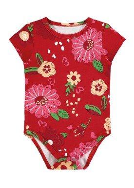 body cotton bebe feminino flores vermelho alenice 41236