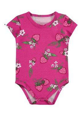 body cotton bebe feminino morangos pink alenice 41236