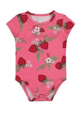 body cotton bebe feminino morangos rosa alenice 41236