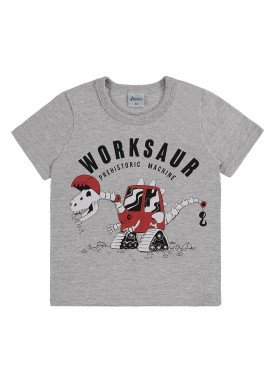 camiseta meia malha infantil masculina worksaur mescla alenice 44561