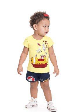 conjunto blusa e short bebe feminino pula pula amarelo alenice 41246 1