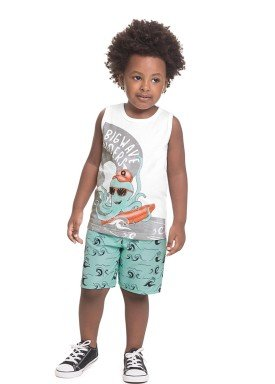conjunto regata e bermuda infantil masculina bigwave branco alenice 44564 1