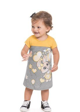 vestido meia malha bebe feminino coelhinha amarelo 41261 1