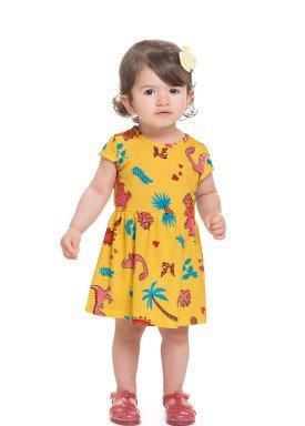 vestido meia malha bebe infantil feminino dinossauros amarelo alenice 41241 1