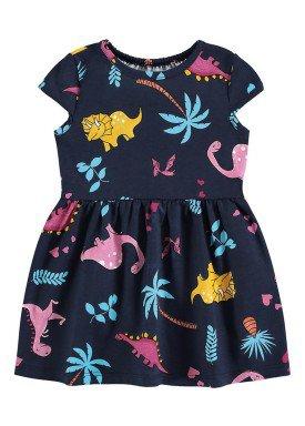 vestido meia malha bebe infantil feminino dinossauros marinho alenice 41241