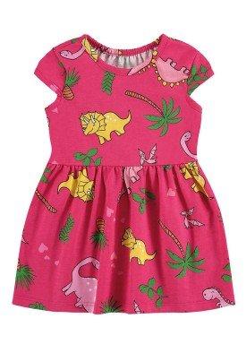 vestido meia malha bebe infantil feminino dinossauros pink alenice 41241