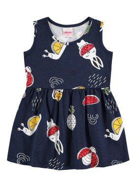 vestido meia malha bebe infantil feminino frutas marinho alenice 41240