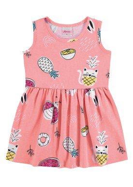 vestido meia malha bebe infantil feminino frutas rosa claro alenice 41240