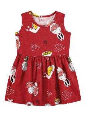 vestido meia malha bebe infantil feminino frutas vermelho alenice 41240