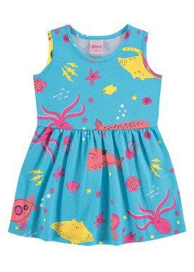 vestido meia malha bebe infantil feminino fundo mar azul alenice 41240