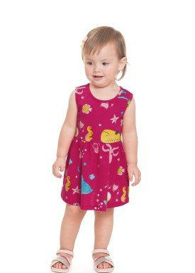 vestido meia malha bebe infantil feminino fundo mar pink alenice 41240 1