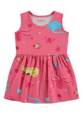 vestido meia malha bebe infantil feminino fundo mar rosa alenice 41240