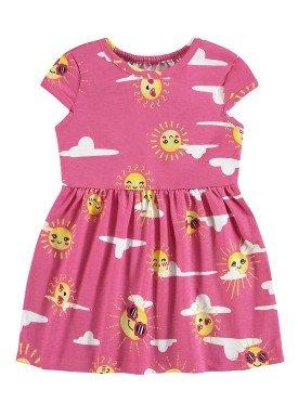 vestido meia malha bebe infantil feminino solzinho rosa alenice 41241