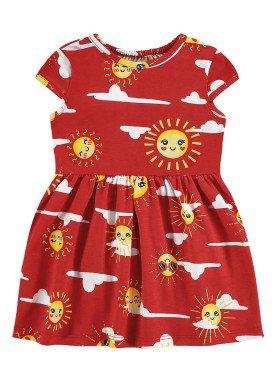 vestido meia malha bebe infantil feminino solzinho vermelho alenice 41241