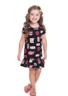 vestido meia malha infantil feminino speech balloon preto alenice 44604 1