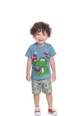 conjunto camiseta e bermuda bebe masculino nham nham azul alenice 41214 1
