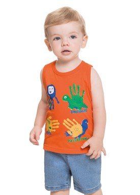 regata meia malha bebe masculina animais laranja alenice 41216 1