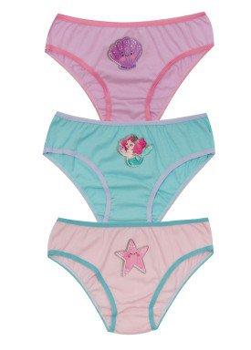kit calcinha 3pc s infantil feminina fundo mar evanilda 01010070