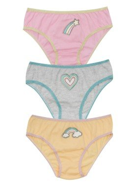 kit calcinha 3pc s infantil feminina arco iris evanilda 01010071