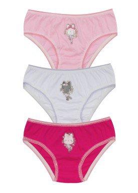kit calcinha 3pc s infantil feminina gatinhas evanilda 01010072