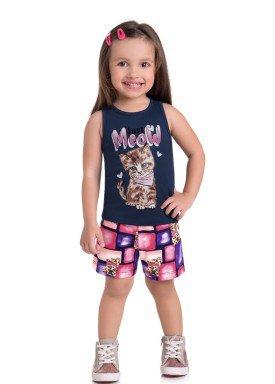 conjunto regata e short infantil feminino meow marinho brandili 34644 1
