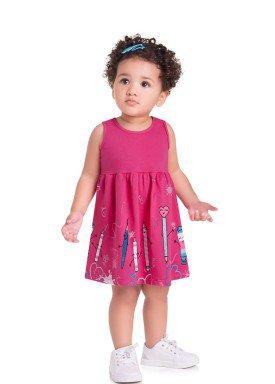 vestido meia malha bebe infantil feminino lapis rosa brandili 35023 1