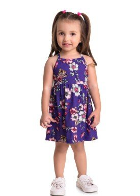vestido meia malha infantil feminino flores roxo brandili 34634 1