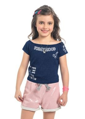 blusa malha canelada infantil feminina today mood marinho kamylus 10331