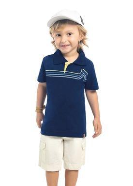 camisa polo meia malha infantil masculina waves marinho kamylus 12141