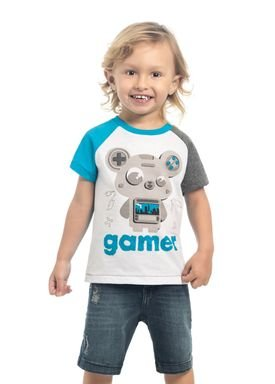 camiseta meia malha infantil masculina gamer branco kamylus 12136